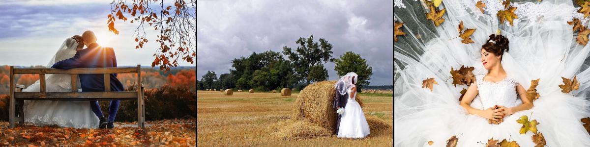 Das linke Bild zeigt ein Hochzeitspaar auf einer Bank. In der Mitte ist ein Bild zu sehen mit einem Hochzeitspaar und Heu. Das rechte Bild zeigt eine liegende Frau in einem Hochzeitskleid. Um ihr herum sind Herbstblätter.